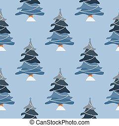 pattern., árvores, inverno, floresta, paisagem, experiência., natal, pinho, seamless, doodle