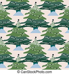 pattern., árvores, inverno, floresta, paisagem, experiência., natal, pinho, seamless, geométrico