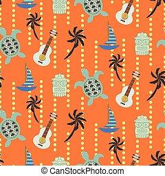 pattern., ハワイ, seamless, ベクトル, オレンジ, 浜