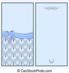 pattern., 弓, victorian, カード, テンプレート, 招待, サテンのリボン