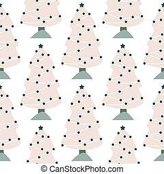 pattern., 木, 冬, 森林, 風景, バックグラウンド。, クリスマス, 松, seamless, いたずら書き