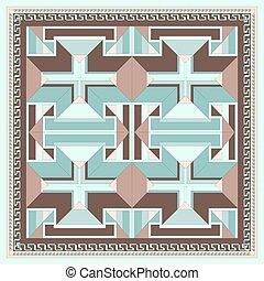 pattern., 絹, 幾何学的, スカーフ