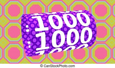 pattern., 1000, ruchomy, cyfra, formułować, barwny, walec, render, ożywiony, 3d, tło.