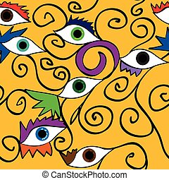 pattern;, abstratos, olho, seamless