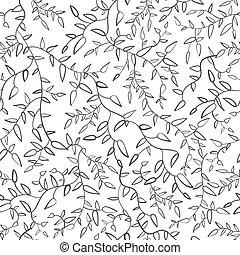 pattern., arbre, noir