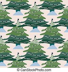 pattern., bäume, winter, wald, landschaftsbild, hintergrund., weihnachten, kiefer, seamless, geometrisch