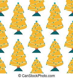 pattern., bäume, winter, wald, landschaftsbild, hintergrund., weihnachten, kiefer, seamless, reizend