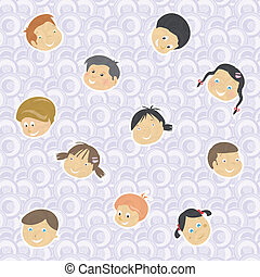pattern background of children faces