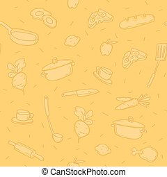 Pattern background various kitchen objects