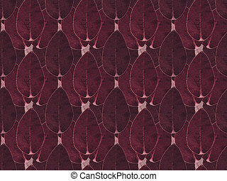 pattern background with burgundy dark floral leaves