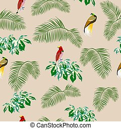 pattern birds of Paradise and tropical plants