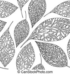 Pattern black and white leaves.eps