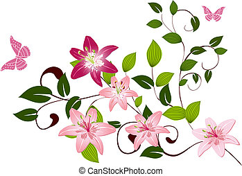 Pattern branch flower Lilies