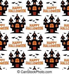 pattern., bruja, halloween, aislado, vuelo, castillo, bats...