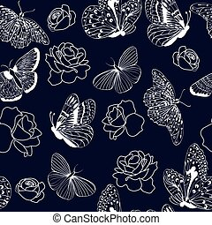 pattern butterflies and roses on dark blue background.