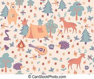 pattern., caricatura, acampamento, floresta