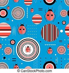 Pattern circles and ladybugs