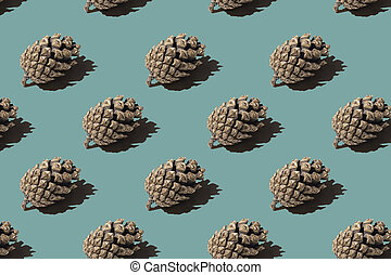 Pattern cone. Isolated object on a blue and green background