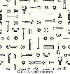 Pattern construction hardware, screws, bolts, nuts and rivets. Equipment stainless, fasteners, metal fixation gear on seamless pattern background.