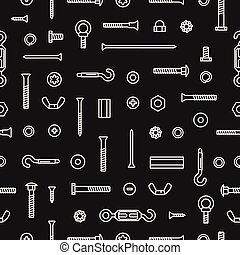 Pattern construction hardware, screws, bolts, nuts and rivets. Seamless pattern equipment stainless, fasteners, metal fixation gear on black background.