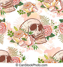 pattern., crâne, seamless, roses, vendange