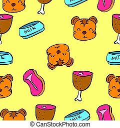 Pattern cute cat colorful collection