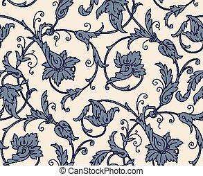 pattern., damasco, seamless, vettore, fondo., vendemmia
