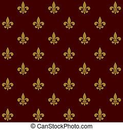 pattern., de, koninklijk, seamless, fleur, vector, lis, lelie
