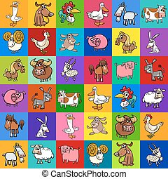 pattern design with cartoon farm animals - Cartoon...