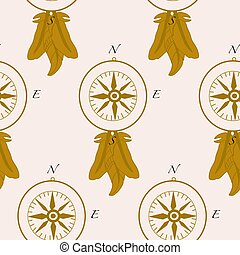 Pattern design with golden compass and elegant feathers