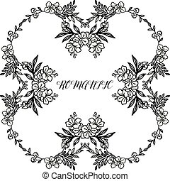 Pattern design wreath frame, black and white, for decoration greeting card romantic. Vector