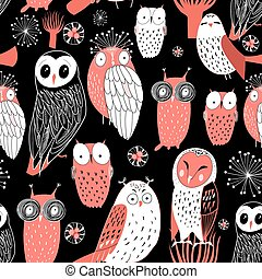 pattern different owls - graphic pattern funny owl on a...