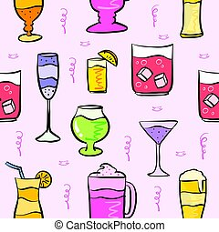 Pattern drink various pink background