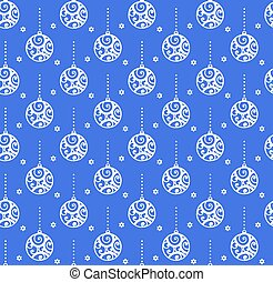 pattern., eenvoudig, monochroom, witte , blauwe achtergrond, bal, winter, kerstmis, vector, seamless