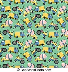 pattern element cargo vehicle. Seamless pattern vector of construction vehicles cartoon