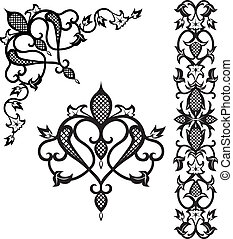 Pattern elements in vintage style - Pattern vector abstract...