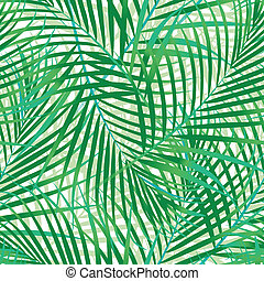 pattern., feuilles, paume, vert, seamless