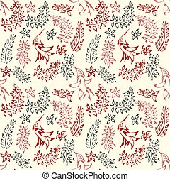 Pattern floral with birds