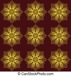 Pattern flowers on a red background
