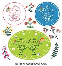 Pattern folk chicken - template