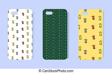 Pattern for a phone case with a small sketch of crowns. Funny design for the cover. Concept for princess. Cartoon style. Gold, bronze. silver on a beige and green background. Vector illustration