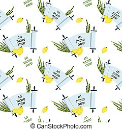 pattern for Jewish holiday Sukkot. torah with Lulav, ,Etrog, Arava and Hadas. Four species symbols date palm, citron, willow, myrtle