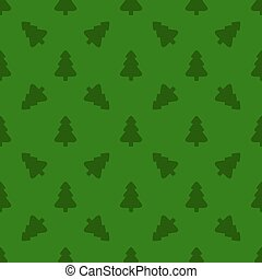 Pattern for wrapping paper. Christmas tree on a green background