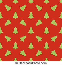 Pattern for wrapping paper. Green Christmas tree on a red backgr