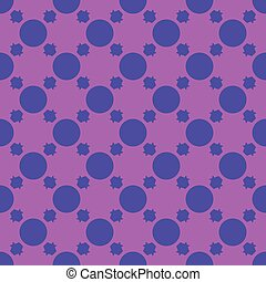 Pattern from blue circles on pink seamless background.
