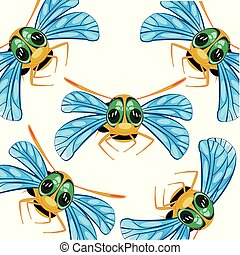 Pattern from insect bee on white background