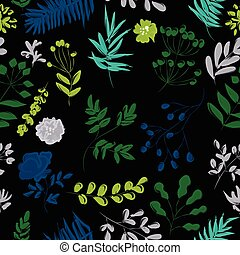 pattern from plants on a black background