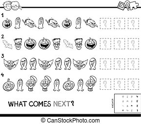 pattern game for kids with Halloween characters color book -...