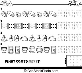 Black and White Cartoon Illustration of Completing the Pattern Educational Game for Kids with Food and Objects Coloring Book Page
