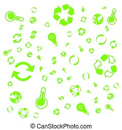 Pattern green icons of ecology. Set of icons on the background